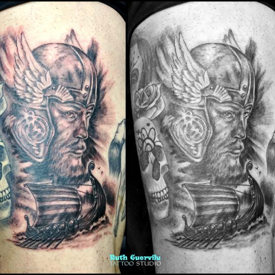 Ruth cuervilu tattoo studio - tatuaje vikingo en blanco y negro - km13 studio