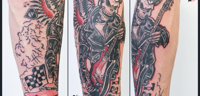 cuervilu tattoo - johnny rebel. grease y guitarra electrica