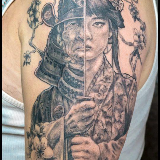 Ruth Cuervilu Tattoo - KM13 Studio - Samurai Geisha Face to face