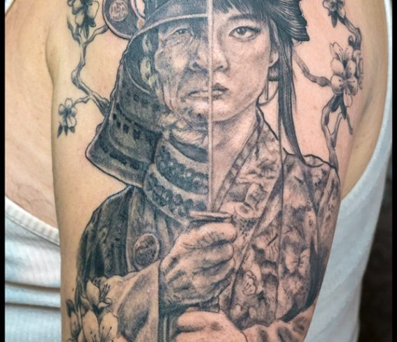 Ruth Cuervilu Tattoo - KM13 Studio - Samurai Geisha Face to face