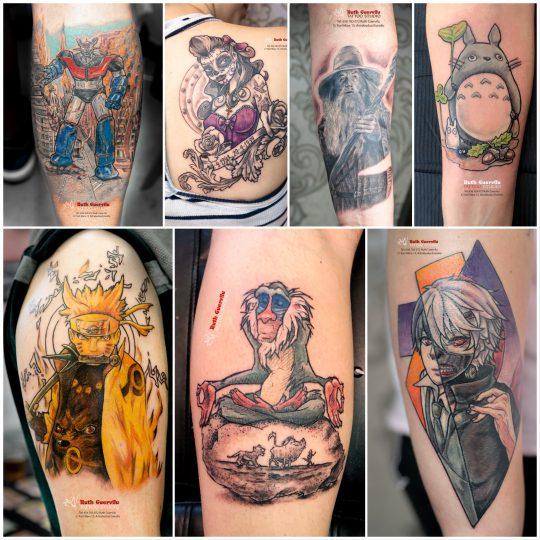 Tatuajes anime, manga, frikis de ruth cuervilu tattoo