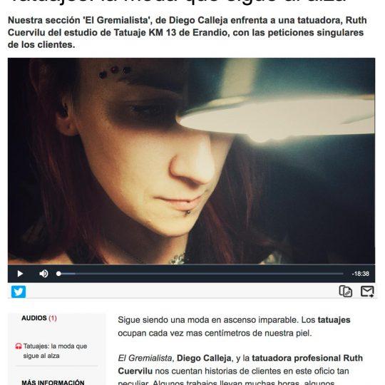 Ruth Cuervilu Tattoo de KM13 Studio en Radio Euskadi Boulevard