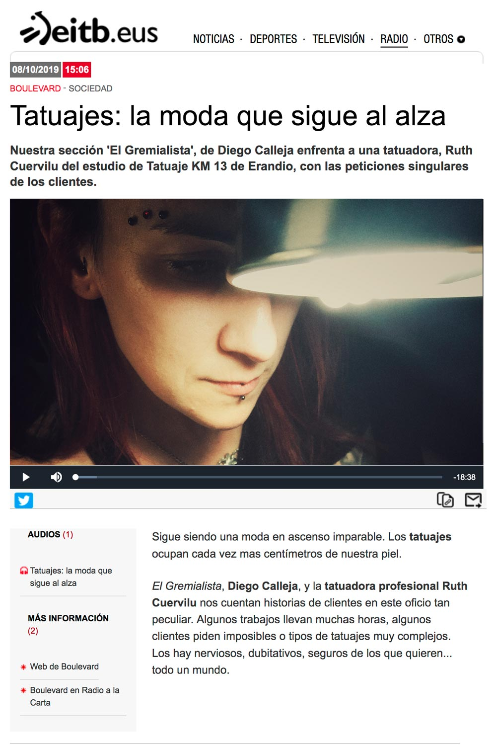 Ruth Cuervilu Tattoo de KM13 Studio en Boulevard Magazine de Radio Euskadi