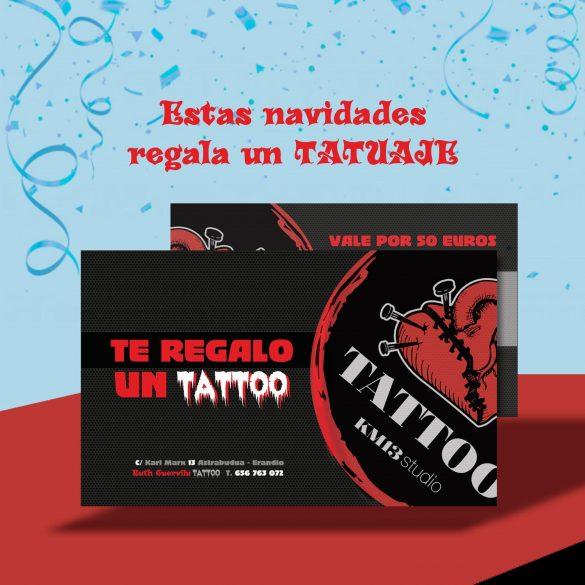 Ruth Cuervilu Tattoo - KM13 Studio - ¿ Cuántas veces has pensado en hacerle un regalo que le guste pero no sabes si vas a acertar? Este VALE es perfecto para cuando llega ese momento de dudas y sabes que un tatuaje le va a hacer mucha ilusión pero no tienes claro qué querrá exactamente. Ven a KM13 Studio y llévale un bonito VALE en una bonita bolsa Kraft llena de sorpresas. * El tatuaje puede superar el valor de este vale.