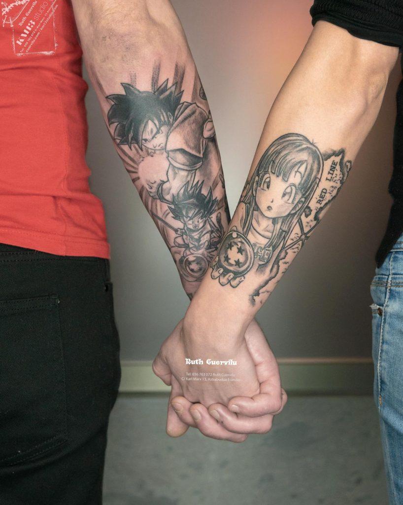 Tatuaje Dragon Ball Goku y Bulma de la mano - Ruth Cuervilu Tattoo - KM13 Studio - Estudio de tatuajes Astrabudua Erandio Bizkaia Bilbao Barakaldo Getxo Leioa Gasteiz Donostia