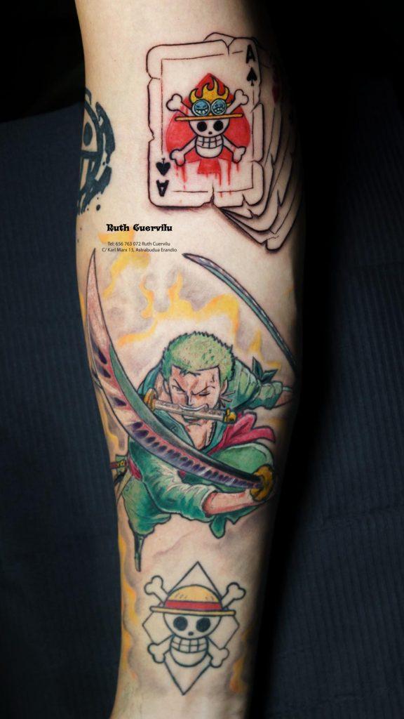 Tatuaje Manga color Ronoa Zoro One Piece - Ruth Cuervilu Tattoo - KM13 Studio - Estudio de tatuajes en Astrabudua Erandio Getxo, Leioa Bilbao Bizkaia Basauri barakaldo portugalete artaza