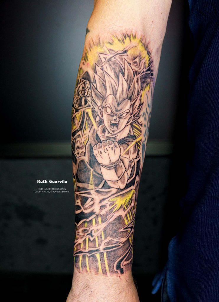 Tatuaje Vegeta Super Sayan - Ruth Cuervilu Tattoo - KM13 Studio - Estudio de tatuajes en Astrabudua Erandio Getxo, Leioa Bilbao Bizkaia Basauri barakaldo portugalete