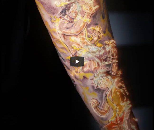 Tatuaje Color Manga One Piece Luffy y Ace de One Piece