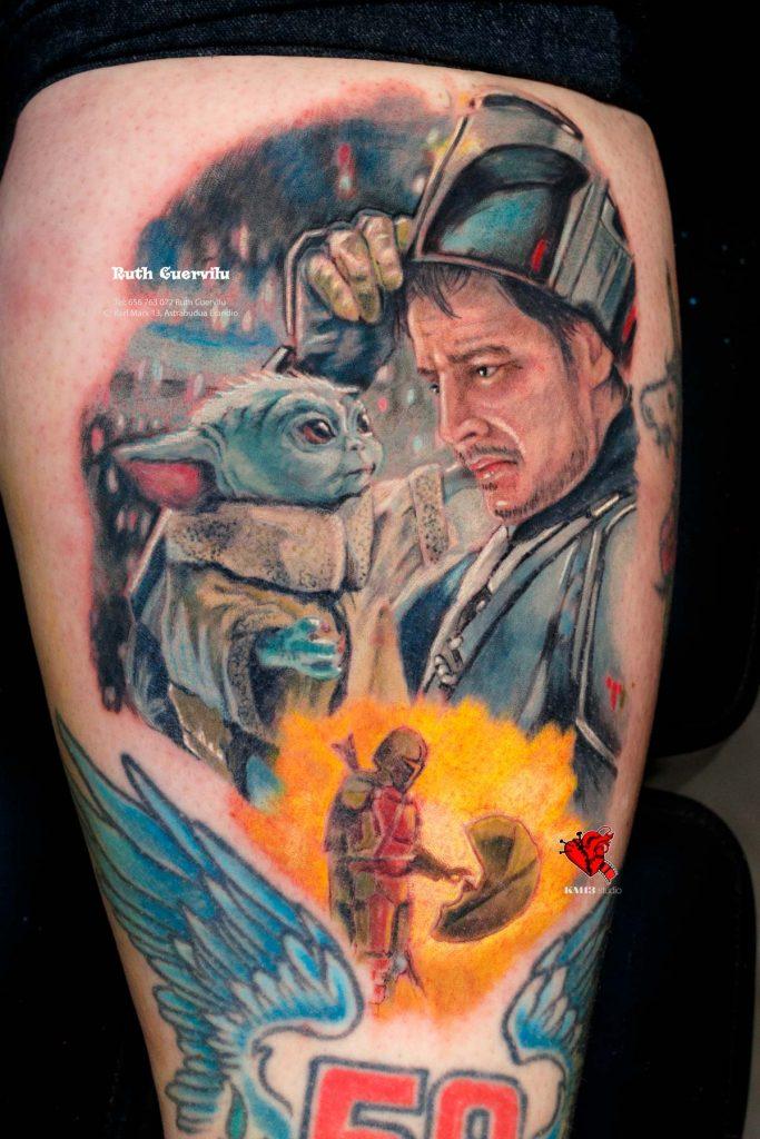 Tatuaje Mandalorian Realismo color - Ruth Cuervilu Tattoo - KM13 Studio - estudio de tatuajes erandio astrabudua bilbao bizkaia