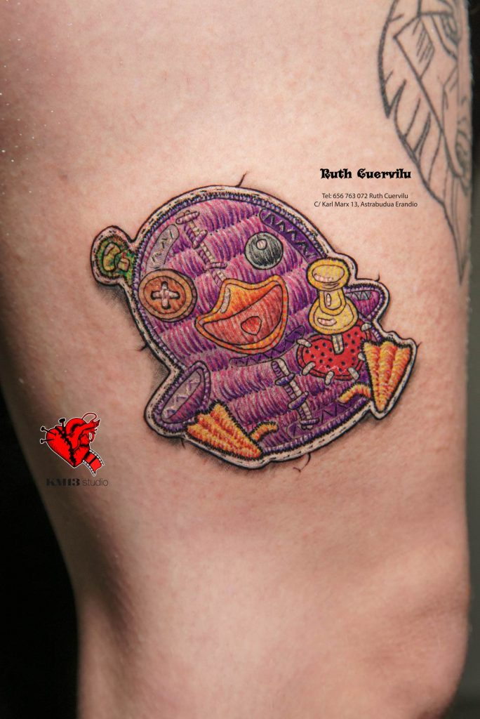 Tatuaje Pato Parche Bordado Torpe Telegram Aizea - ruth cuervilu tattoo km13 studio - estudio de tatuajes erandio astrabudua bilbao bizkaia